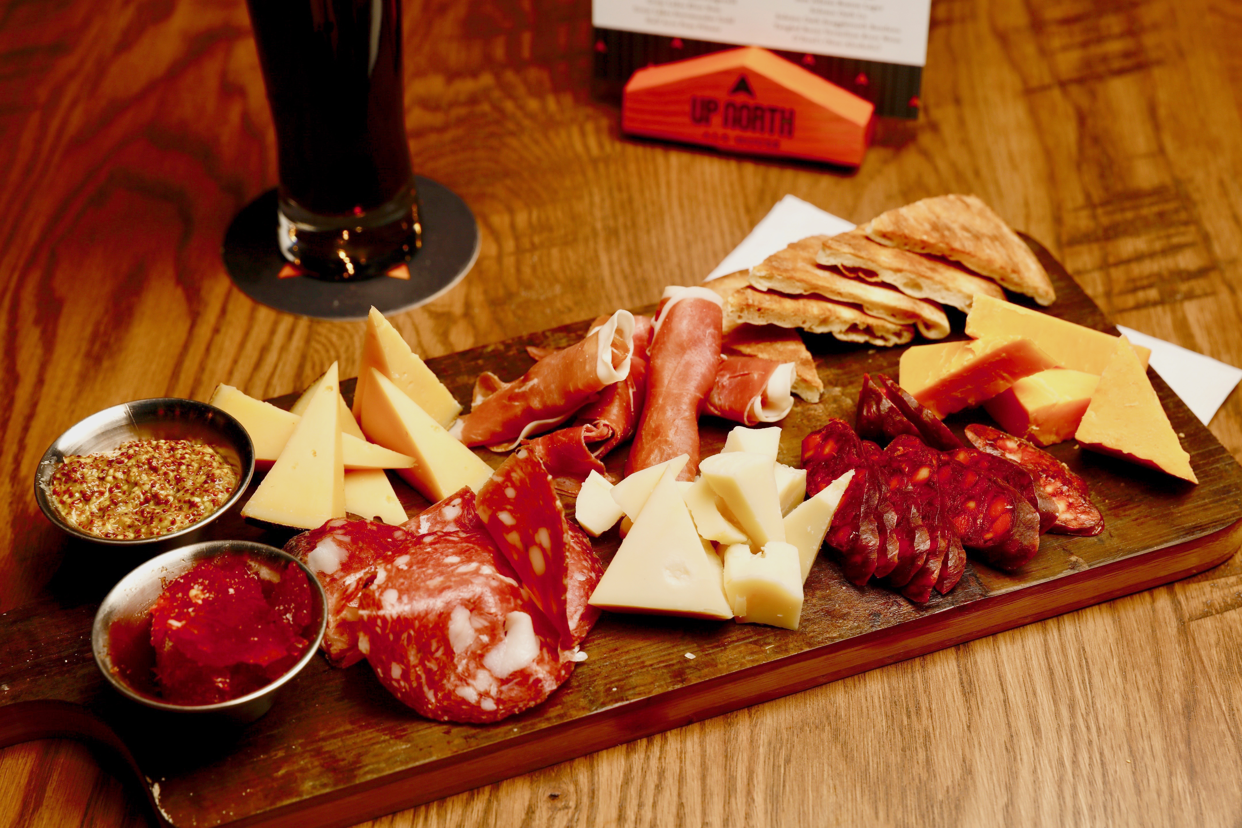 Up North Ale House charcuterie board close up